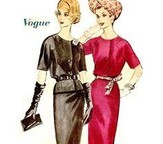 1960s Dress Pattern  Bust 36 Wiggle Dress or Two Piece Dress Peplum Top Slim Skirt Vogue 5101 Size 16 Womens Vintage Sewing Pattern