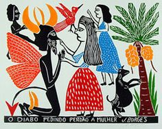 The devil asking a woman's pardon. Indigo Arts Gallery | Brazilian Folk Art | Jose Francisco Borges 2