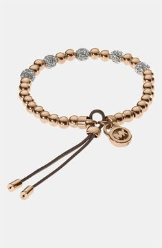 Michael Kors Bead & Crystal Stretch Bracelet | Nordstrom. Love! Great to layer with watches...and MK is are my initials ;)