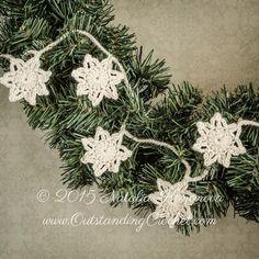 Outstanding Crochet: Crochet Stars Vintage Christmas Garland - Wreath Decoration - Free Photo - Tutorial.