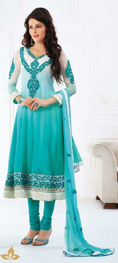 USD 79.3 Blue Faux Georgette Resham Work Anarkali Salwar Kameez  27109