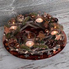 Adventskranz mit Teller Windicht Advent Holzkranz Weihnachten Holz Glas kupfer