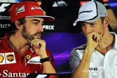 """Button:""""Ron said he's still sore over what you did in 2007!"""" Alonso: """"What!, Just because I threw out all the fish out they served for lunch!"""""""