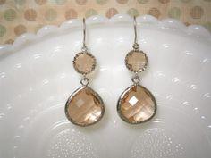 Blush Earrings, Champagne Silver Earrings, Round Peachy Blush Earrings