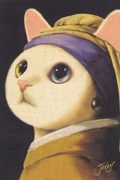 "Cat with a Pearl Earring is not an oil painting by 17th-century Dutch painter Johannes Vermeer. It is a tronie* of a cat with a headscarf and a pearl earring. The painting has NOT been in the collection of the Mauritshuis in The Hague since 1902. *""The now defunct term tronie refers to heads, ""faces,"" or ""expressions"" and to a type of picture familiar from many examples by Rembrandt and his followers."