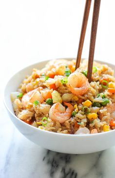 Shrimp Fried Rice - Why order take-out? This homemade version is so much healthier, cheaper and tastes a million times better!
