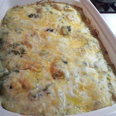 "Poblano Chicken Enchilada Casserole | ""A few additions: season your chicken(both sides) (cumin, chili spice, garlic, onion powder)...add some of your favorite onion (red works well), use three-four poblanos, mexican blend cheese with some mozzarella (not necesarily four cups, use your best judgement) . You can forgo the ... mushrooms. Next time, I'll try this with Rotel instead of mushrooms, and add in some green chilis. My husband and 7 yr. old boy loved this recipe!"""