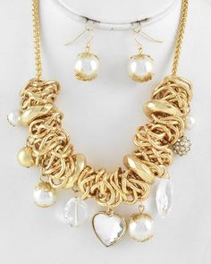Gold Metal / Cream Synthetic Pearl & Gold Ccb (bead) / Clear Acrylic / Lead Compliant / Heart Charm / Necklace & Fish Hook Earring Set