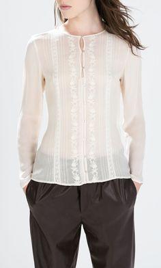 Bluzka ecru biała haft koronka 36 elegancka Zara