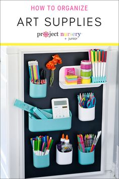 How I Finally Got Our Art Supplies Organized - Project Nursery Kids Bedroom Organization, Office Supply Organization, Toy Organization, Organizing Ideas, Kids Art Space, Kids Room Art, Art For Kids, Playroom Art, Craft Storage Solutions