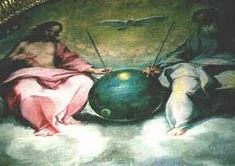 """old biblical pictures with ufos in them   The above painting is by Bonaventura Salimbeni entitled """"Glorification ..."""
