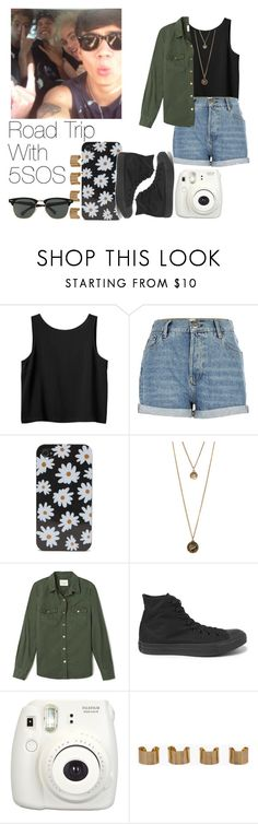 """Road Trip With 5SOS"" by the4dipshits ❤ liked on Polyvore featuring Monki, River Island, With Love From CA, Forever 21, Converse, Fujifilm, Maison Margiela and Ray-Ban"