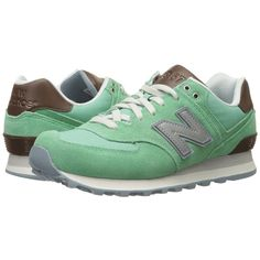 New Balance Classics WL574 (Mint) Women's Lace up casual Shoes ($80) ❤ liked on Polyvore featuring shoes, mint green shoes, woven shoes, laced shoes, lace up shoes and laced up shoes