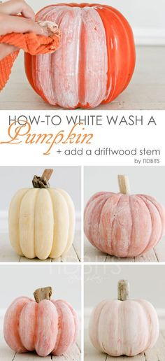White Wash a Pumpkin + Add a Driftwood Stem - Tidbits How to white wash a pumpkin and add a driftwood stem - for lovely coastal or shabby chic Fall decor.How to white wash a pumpkin and add a driftwood stem - for lovely coastal or shabby chic Fall decor. Fall Home Decor, Autumn Home, Fal Decor, Fall Apartment Decor, Diy Autumn, Autumn Ideas, Shabby Chic Fall, Shabby Chic Halloween Decor, Shabby Chic Pumpkins