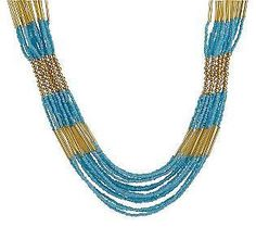 Multi-Strand India Seed Bead Necklace w/Goldtone Accent Beads By Garold Miller #GaroldMillerQVC