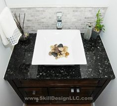 I was just at a friends house that had pebbles in the guest bathroom sink --- loved it! Kitchen And Bath Design Center, Bathroom Inspiration, Bathroom Ideas, First Home, Bathroom Remodeling, Remodeling Ideas, Feng Shui, Master Bathroom, Sweet Home