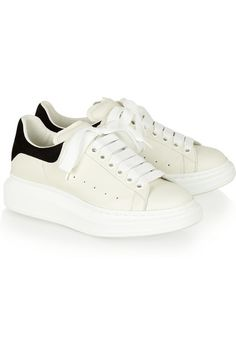 7e4afead7c38 Alexander McQueen - Leather and suede exaggerated-sole sneakers