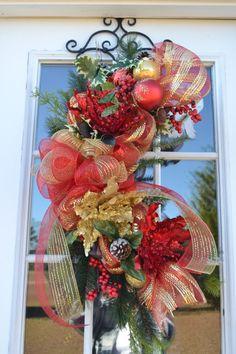 Deco Mesh Christmas Swag Christmas Wreath by Motherdaughterflowe1, $55.00