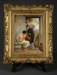 "A KPM porcelain plaque ~ Depicting a scene of a classical Greek urn painter and an admirer ~ Titled ""A fair critic after P. Thumann"" ~ Signed A. Scherf ~ Origin Germany ~ Circa late 19th century ~ early 20th century"