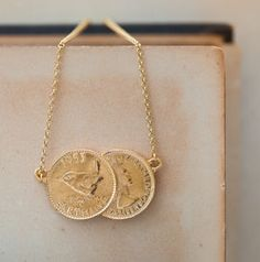 Gold Double Farthing Charm Necklace - whatsnew