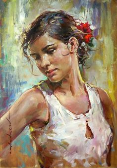 """Alessandra"" - Andrew Atroshenko {contemporary figurative artist beautiful female head woman portrait painting} Satisfied !!"