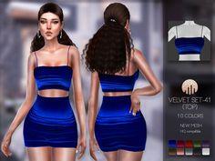The Sims 4 najlepsze mody do gry: Velvet (TOP) od Busra-tr The Sims 4 Pc, My Sims, Sims Cc, Sims 4 Mods Clothes, Sims 4 Clothing, Sims 4 Game Mods, Sims Mods, Toddler Cc Sims 4, Vêtement Harris Tweed