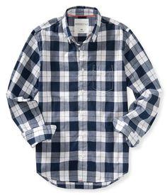 Long Sleeve Plaid Woven Shirt - Bleach