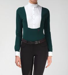 Technical shirt with bib // Long sleeve // Green - CF Equestrian Style