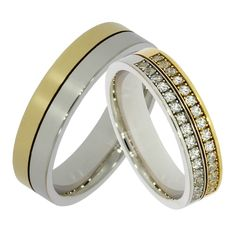 Verighete ATCOM Lux GEMMA aur galben cu alb Aur, Wedding Rings, Engagement Rings, Jewelry, Enagement Rings, Jewlery, Bijoux, Schmuck, Wedding Ring