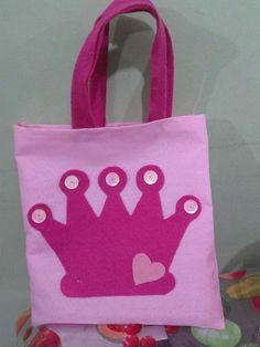 bolsa de pano com feltro festa princesas