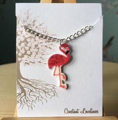 "Flamingo Necklace - Digitally Drawn Plastic Necklace on a 16"" silver plated chain"