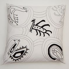 Manali cushion (black), 60 x 60cm. 100% cotton, hand-embroidered.