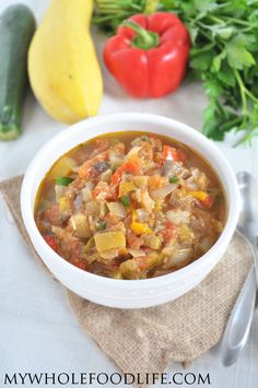 Slow Cooker Ratatouille Soup. A super easy recipe that is inexpensive to make. Freeze in serving sized containers for easy meals all week! #slowcooker #vegan #soups #glutenfree