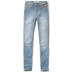 Hollister High Rise Super Skinny Jeans (€22) ❤ liked on Polyvore featuring jeans, destroyed light wash, stretch skinny jeans, skinny jeans, high waisted skinny jeans, blue skinny jeans and stretchy skinny jeans