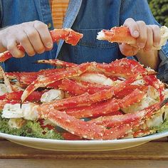 """Most call this crab """"Alaskan King Crab"""" but it's not! Why pay per pound for something the size of the real deal & not even half as sweet? King Crab is as long as your leg & as thick as your forearm. Alaska Salmon Fishing, Alaskan King Crab, Alaska Seafood, Great Recipes, Favorite Recipes, Healthy Recipes, Seafood Buffet, King Crab Legs, Fish And Seafood"""