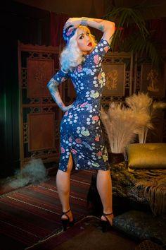 Pinup Couture Elizabeth Dress in Floral Spider Web Print Crepe