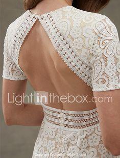 Sheath / Column Jewel Neck Floor Length Lace Wedding Dress with Lace Sash / Ribbon Draped by LAN TING BRIDE® 2018 - $149.99