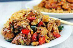 **Kung Pao Chicken - Full of Spicy Wok fired Chicken Breast, Zucchini, Red Bell Peppers and crunchy Peanuts in a Sesame Ginger-Garlic Sauce, this recipe is Authentically Panda Express! The recipe is straight from the source! Copycat Recipes, Meat Recipes, Asian Recipes, Chicken Recipes, Cooking Recipes, Ethnic Recipes, King Pao Chicken Recipe, Thai Peanut Chicken, Chicken Zucchini