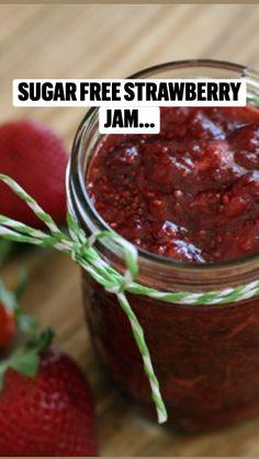 Strawberry Jelly Recipes, Sugar Free Strawberry Jam, Strawberry Freezer Jam, Sugar Free Jam, Homemade Strawberry Jam, Homemade Jelly, Fruit Recipes, Homemade Jam Recipes, Strawberry Preserves