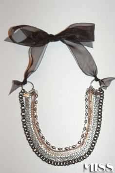 DIY Chain and ribbon necklace.