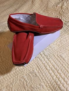 6b62caba93b Men s Brick Red Suede Robert Wayne comfort Driving Shoes Loafers size 10   fashion