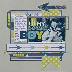 Scrapbook Layout featuring Echo Park Paper Co. Baby Boy Scrapbook, Paper Bag Scrapbook, Scrapbook Albums, Scrapbook Cards, Wedding Scrapbook, Pregnancy Scrapbook, Graduation Scrapbook, Scrapbook Photos, School Scrapbook