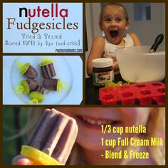 Nutella Fudgesicles - the bestest Nutella Recipe EVER! So yummy for Summer…or any time of the year for dessert! Nutella Brownies, Nutella Popsicles, Delicious Desserts, Dessert Recipes, Yummy Food, Fun Food, Awesome Desserts, Yummy Yummy, Snack Recipes