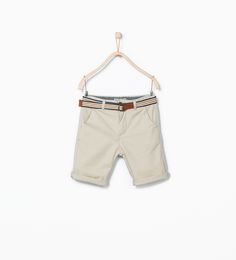 Image 1 of Belted bermuda shorts from Zara Page Boy, Mini Me, Boy Outfits, Casual Shorts, Khaki Pants, Belt, Clothes, Flower Girls, Bridesmaids