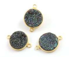 Shimmering Charcoal Druzy w/ Rainbow Dazzle, Round Connector set in Gold Vermeil, A+ Quality Gemstone 15mm, 1 Piece (DZY/RD/CON) by Beadspoint on Etsy