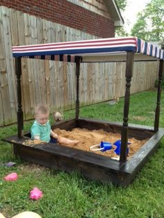 DIY pottery barn sand box tutorial. I really like the idea of something over it to protect the kids from the sun