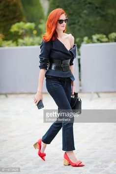 A guest is seen outside of the Christian Dior show during Paris Fashion Week Spring Summer 2017 at the Rodin museum on September 30 2016 in Paris...