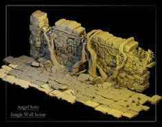 "Jungle Temple Wall Scene (Disney's ""Jungle Book""), Ann S. on ArtStation at… 3d Fantasy, Fantasy Landscape, Environment Concept Art, Environment Design, Zbrush, Jungle Temple, Game Props, Modelos 3d, Inca"