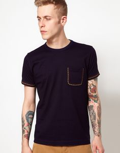 YMC | YMC T-Shirt With Embroidered Pocket at ASOS