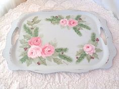 ROMANTIC HOLIDAY TRAY hp roses chic shabby vintage cottage hand painted HOLLY